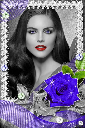 Рамка для Photoshop - Синяя роза