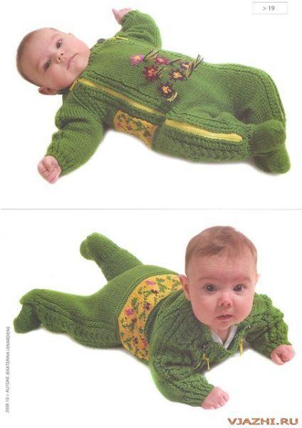 Детский зелёный комбинезон.