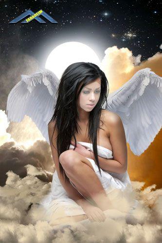 Женский шаблон для фотомонтажа Лунный ангел