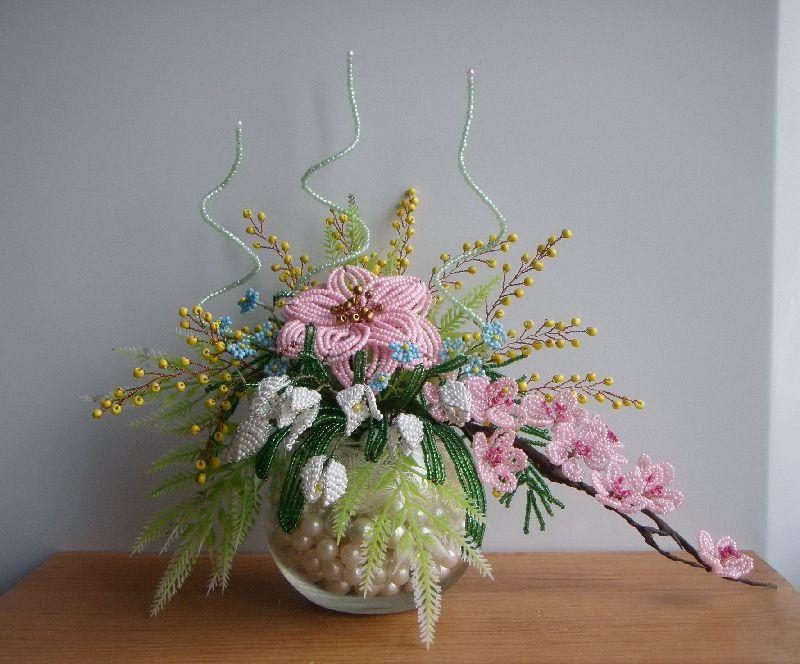 Композиции из цветов из бисера своими руками