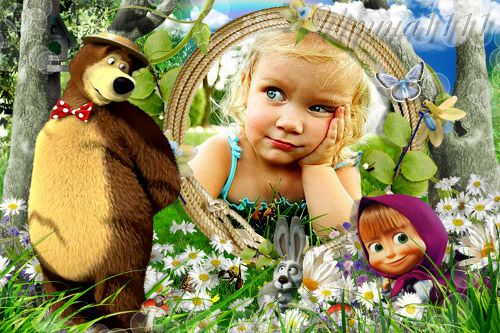 Рамка для детей с Машей и медведем