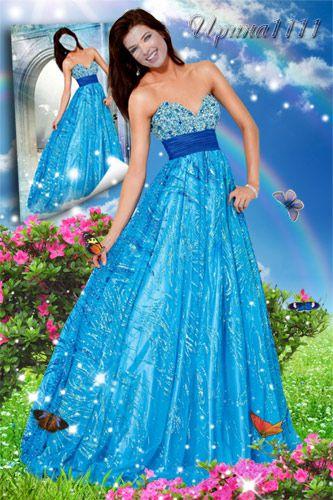Шаблон для фотошопа - Леди в голубом