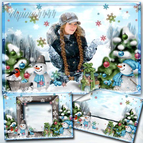 Зимняя рамка со снеговиками