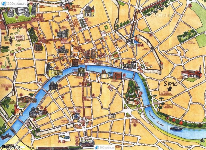 Карта достопримечательностей Пизы.