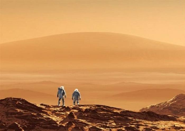 Захватывающий вид с Марса на Млечный Путь