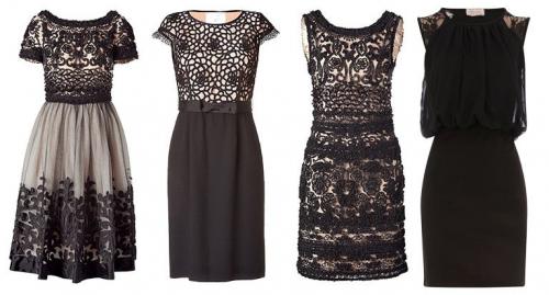 20b92b85b33 Кружево с крупным узором может напомнить скатерть или старую штору. Черное  кружевное платье - незаменимый вариант как для светского мероприятия