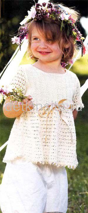Схема вязания детской летней туники для девочки.