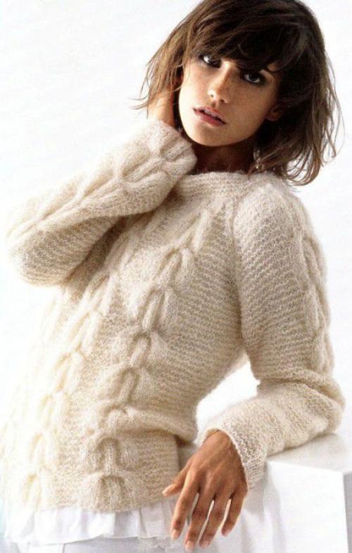 Вязание спицами коралловый пуловер