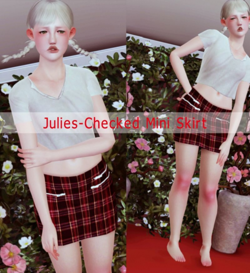 Checked Mini Skirt by Julies