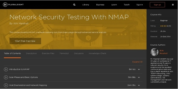 [Pluralsight] Network Security Testing With NMAP [2014, ENG]