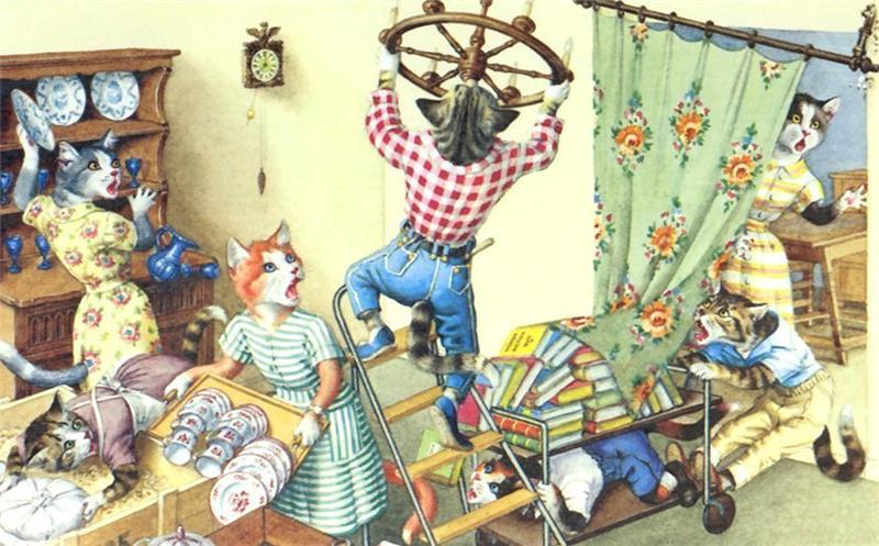 Открытки с кошками художника Alfred Mainzer