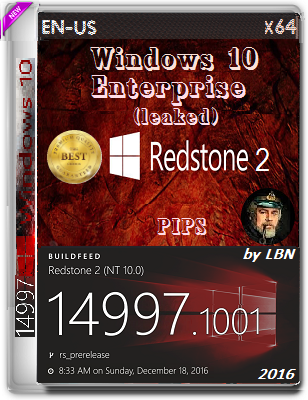 Windows 10 Enterprise (leaked) 14997.1001 rs2 PIPS by Lopatkin (x64) (2016) Eng