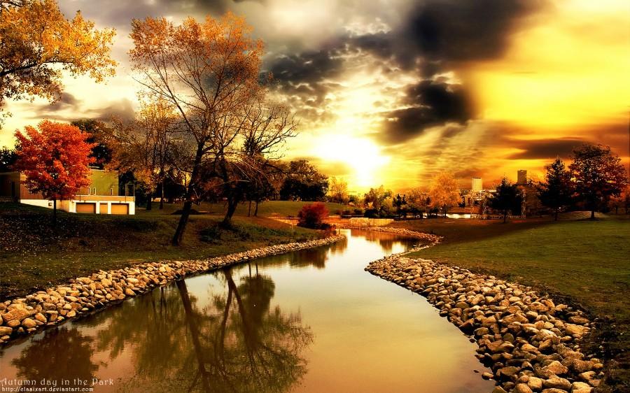 Осенний пейзаж на закате