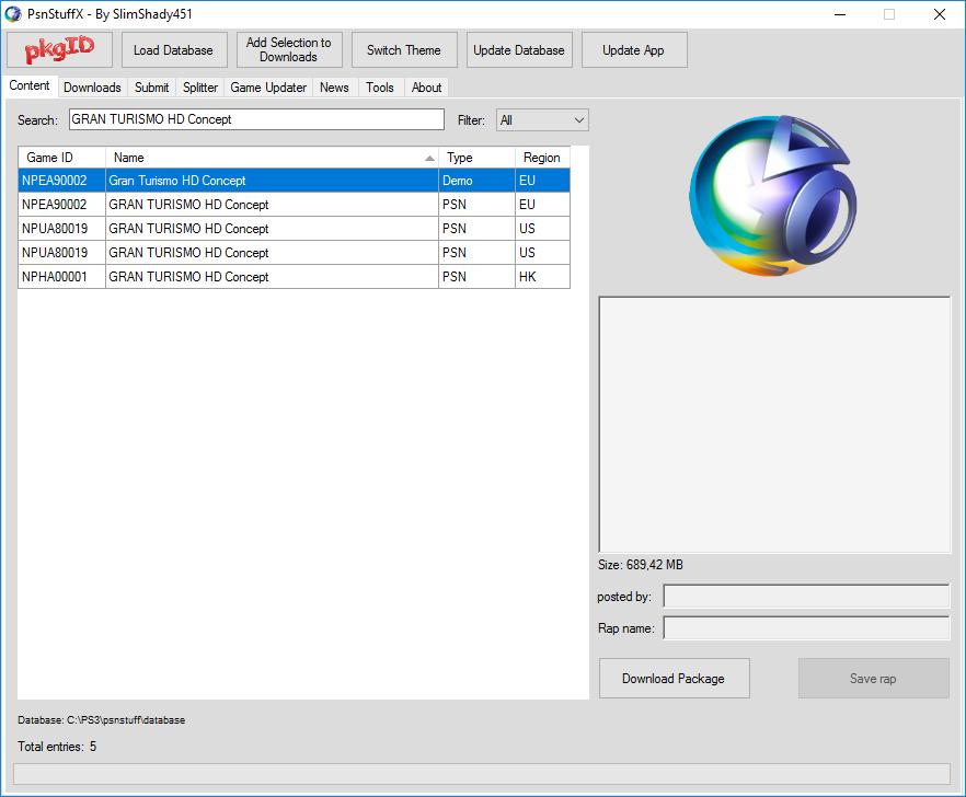 PSN Stuff+ | PSN-DL | PeXploit Downloader = База данных PSN
