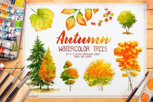 Клипарт - CreativeMarket - Autumn watercolor trees [AI, PNG, JPG]