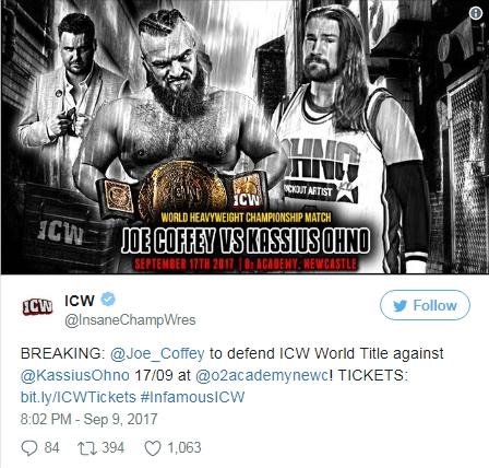 Кассиус Оуно поборется в матче за титул чемпиона ICW