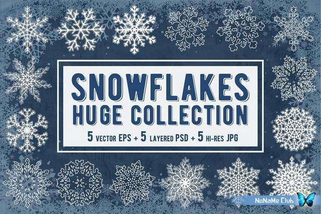 Клипарт - Creative Market - Snowflakes Collection. Vector - 2084969 [PSD, EPS, JPG]