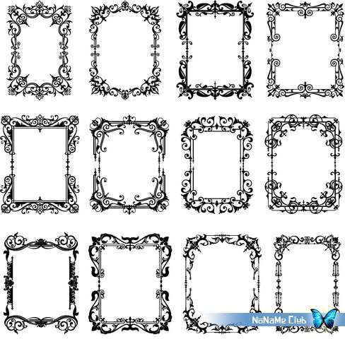 Векторный клипарт - Ornamental Floral Frames 47 [AI]