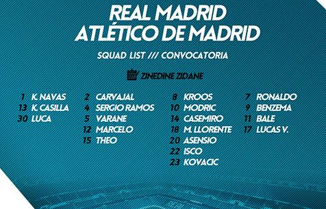 "Заявка ""Мадрида"" на игру против ""Атлетико"""