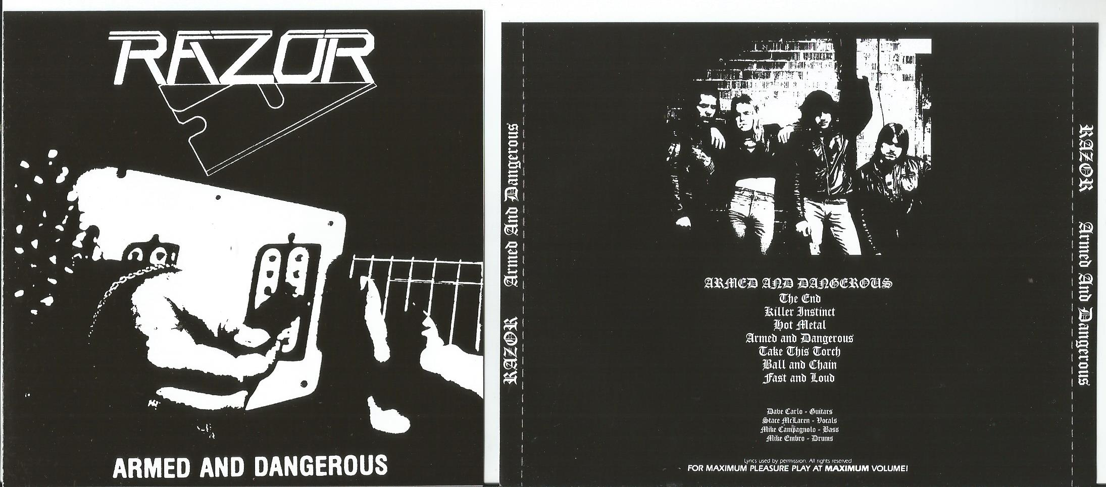 RAZOR Armed and Dangerous (booklet with lyrics)
