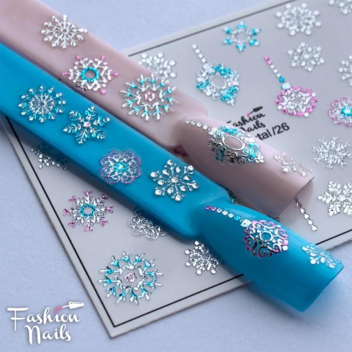 Fashion Nails Зима Слайдер-дизайн 3d Crystal 026
