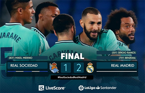 Real Sociedad S.A.D. - Real Madrid C.F. 1:2