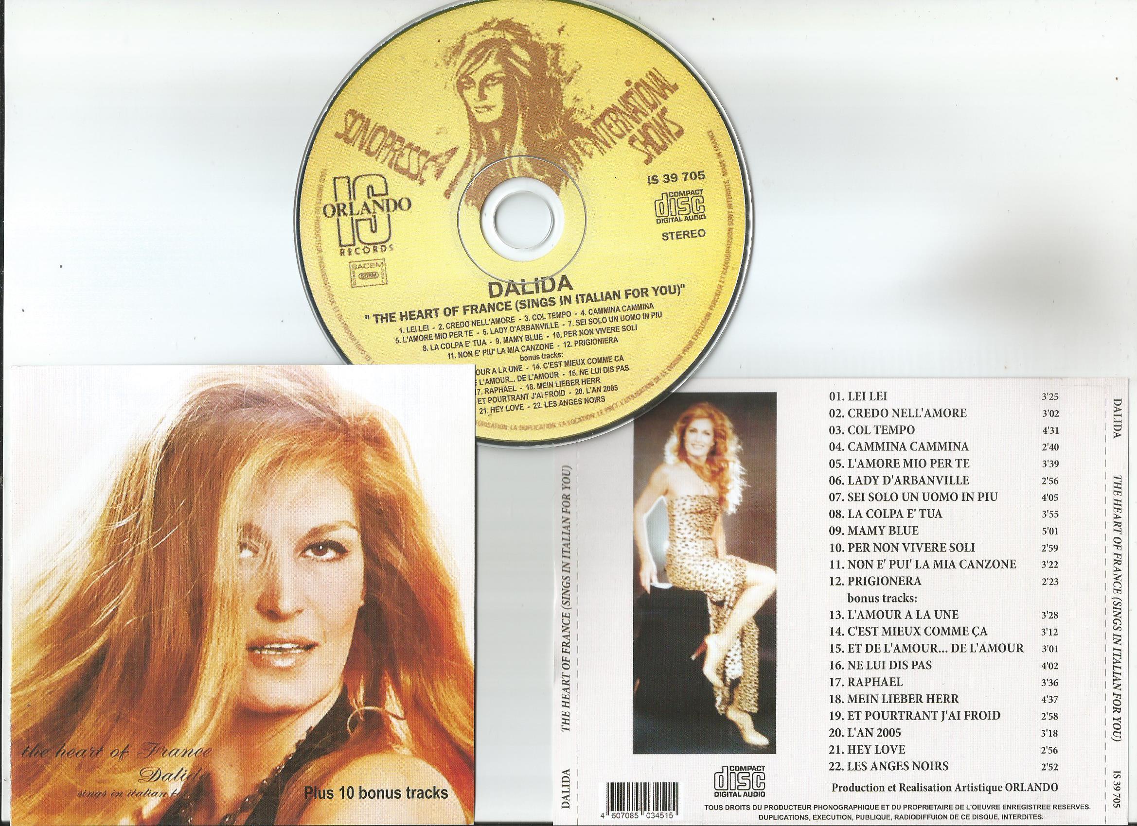 dalida the heart of france (sings in italian for you) + 10bonus tracks